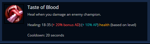 Taste Of Blood rune in League of Legends
