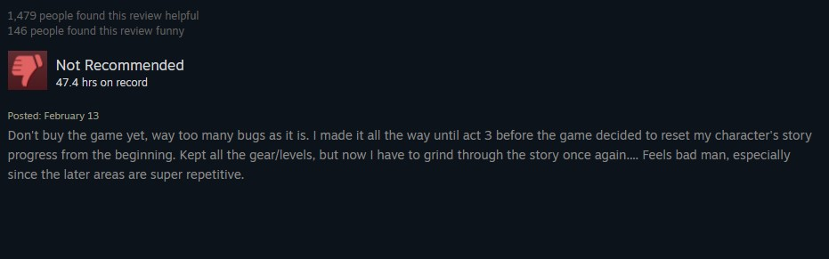 Wolcen negative review example 3.