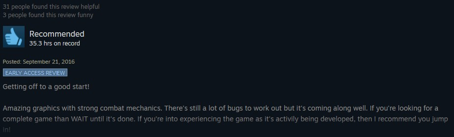 Wolcen positive review example 2.