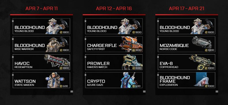 Apex Legends The Old Ways event skins will be on a rotating schedule between april 7 and april 21.