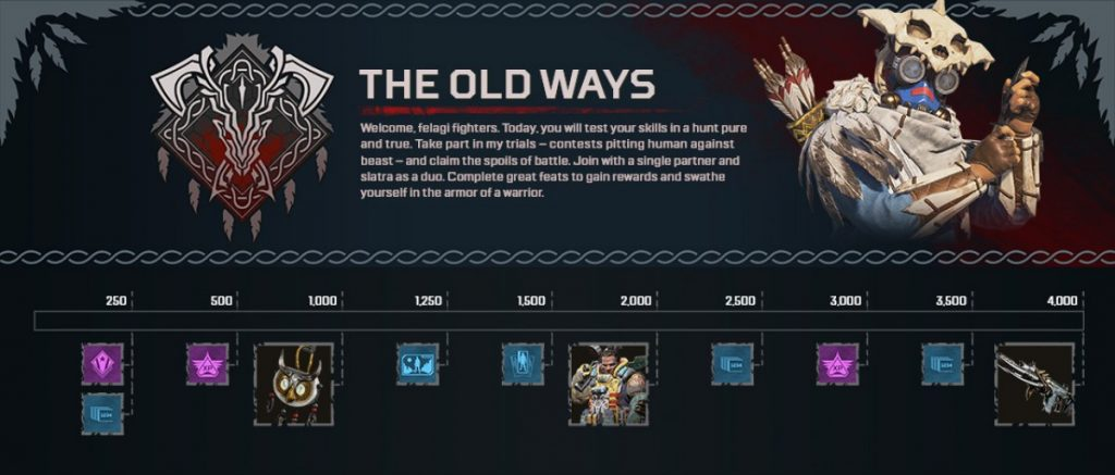 Apex Legends The Old Ways will feature a stellar event prize track allowing players to complete daily challenges for cosmetic rewards.