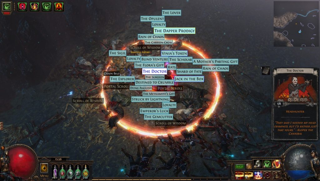 PoE strongbox guide mosntrous treasure profit with a doctor card drop example.
