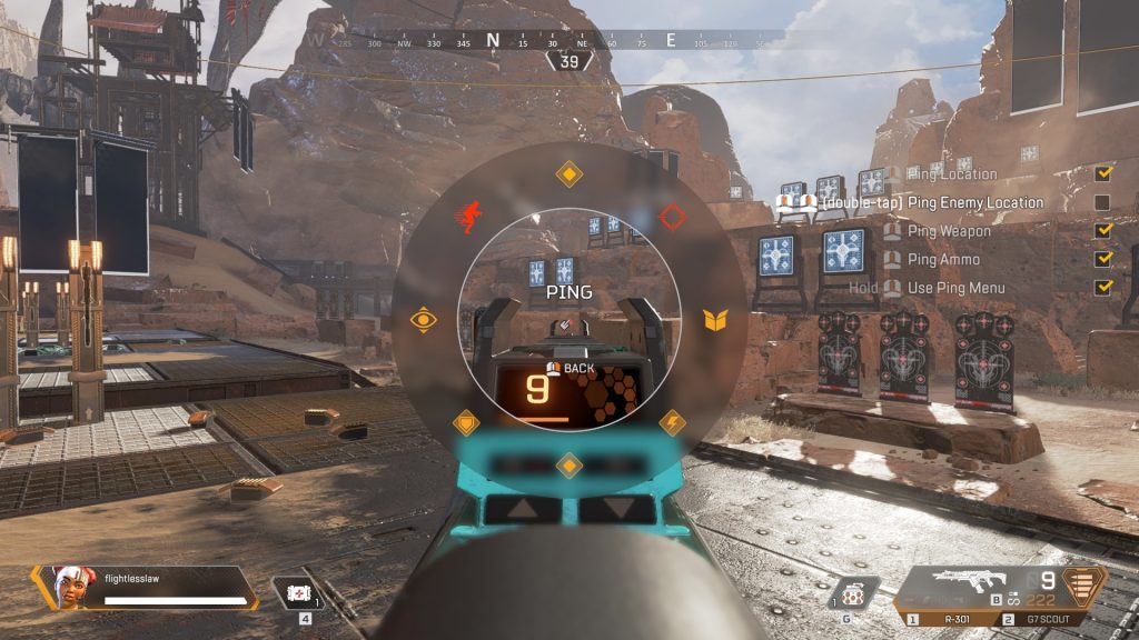 A screenshot showing the various options that you can find on the ping-wheel system in Apex Legends.