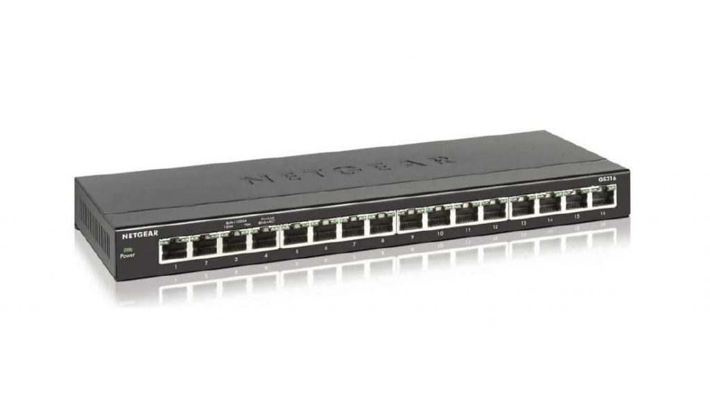 The NETGEAR GS316 unmanaged switch is the most affordable high-capacity gaming-oriented switch in 2020.