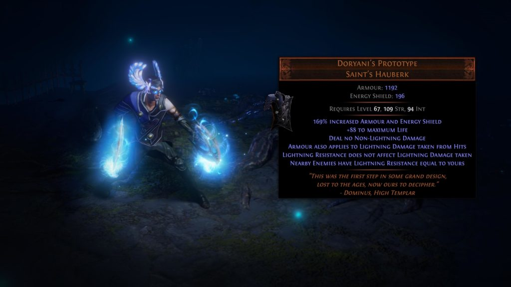 A showcase of the new Doryani's Prototype chest armor coming in Path of Exile Patch 3.11