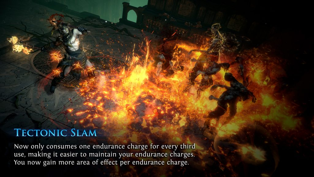 A showcase of the new Tectonic Slam skill in PoE Patch 3.11