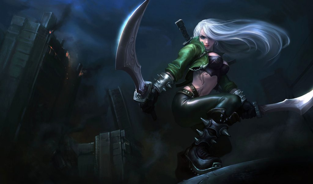 Katarina's twirl, dash, and whirl playstyle is mechanically challenging but her kit's damage potential is absolutely out of this world.
