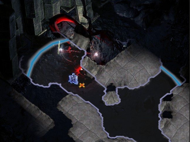 An example of a fractured wall found in a long Delve corridor in Path of Exile.