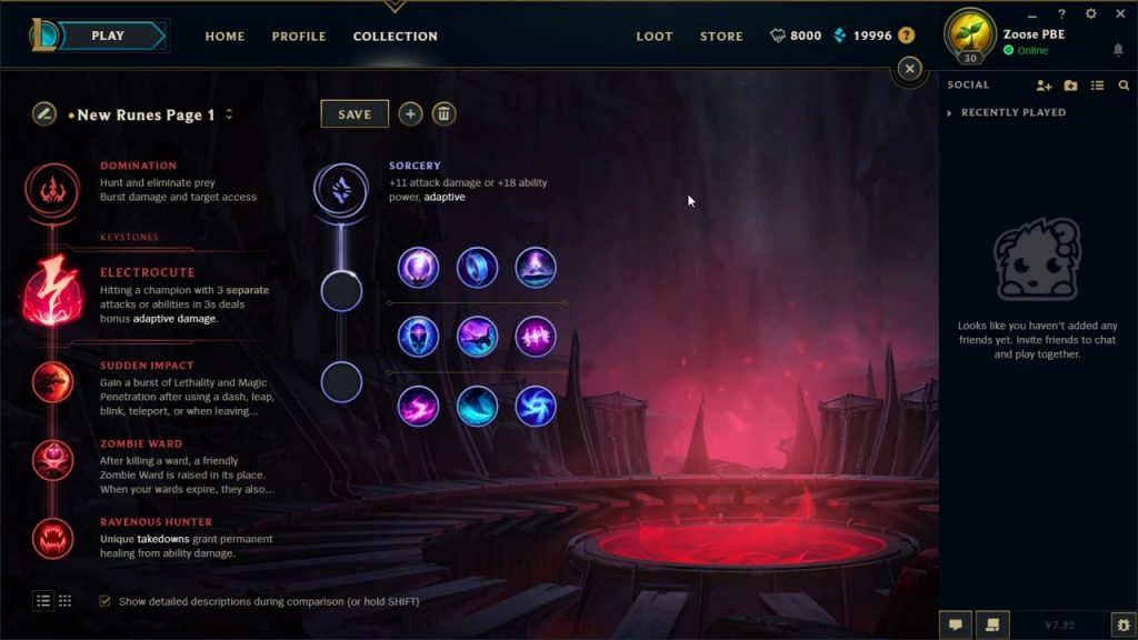 An example of a customizable rune page in League of Legends.