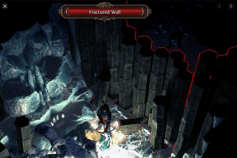 An example of a fractured wall in Path of Exile.