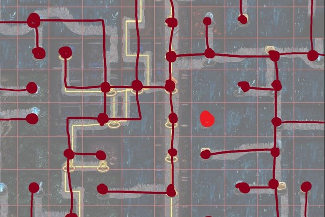 A helpful illustration of the path-wise layout over top of the PoE Delve grid.