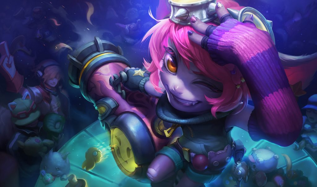 A preview of the free Riot Girl Tristana skin in LoL.