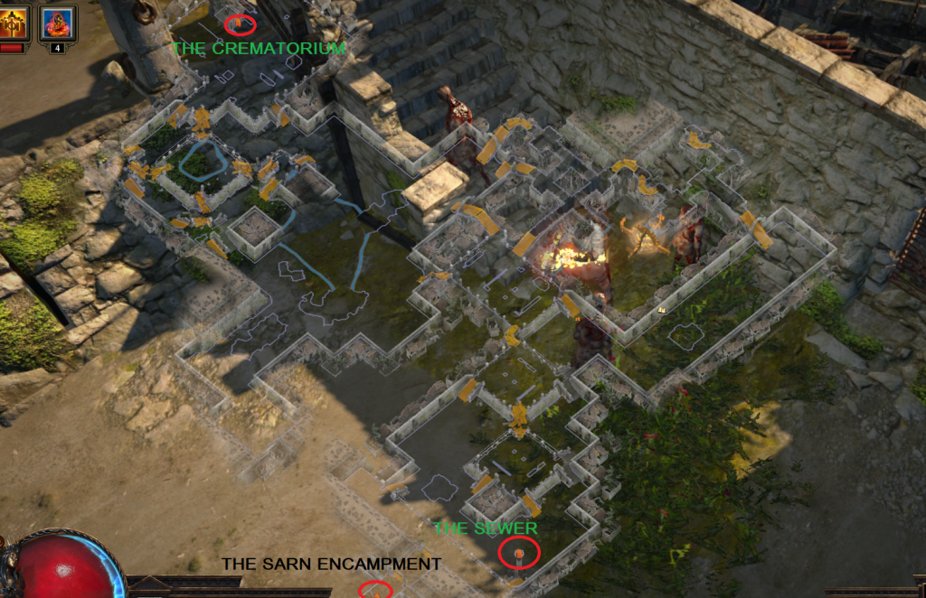 Act 3 Slums Example Map Layout in Path of Exile.