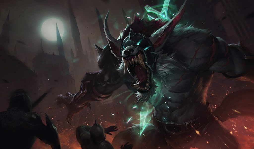 A glance at the updated Grey Warwick skin in LoL.