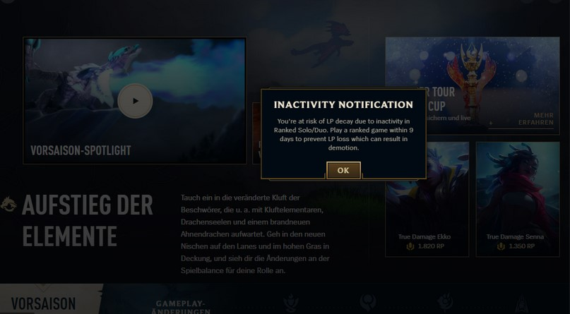 An example of the ranking decay notification in league of legends.