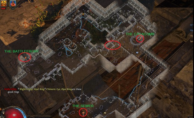 Act 3 Marketplace Example Map Layout in Path of Exile