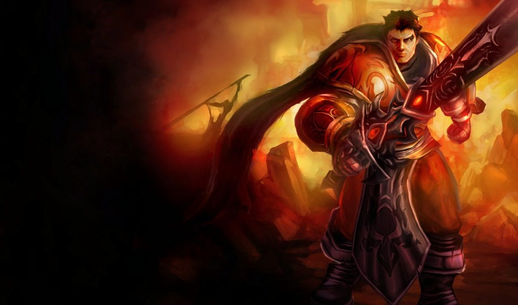 A preview of the Sanguine Garen skin that you can get for free.