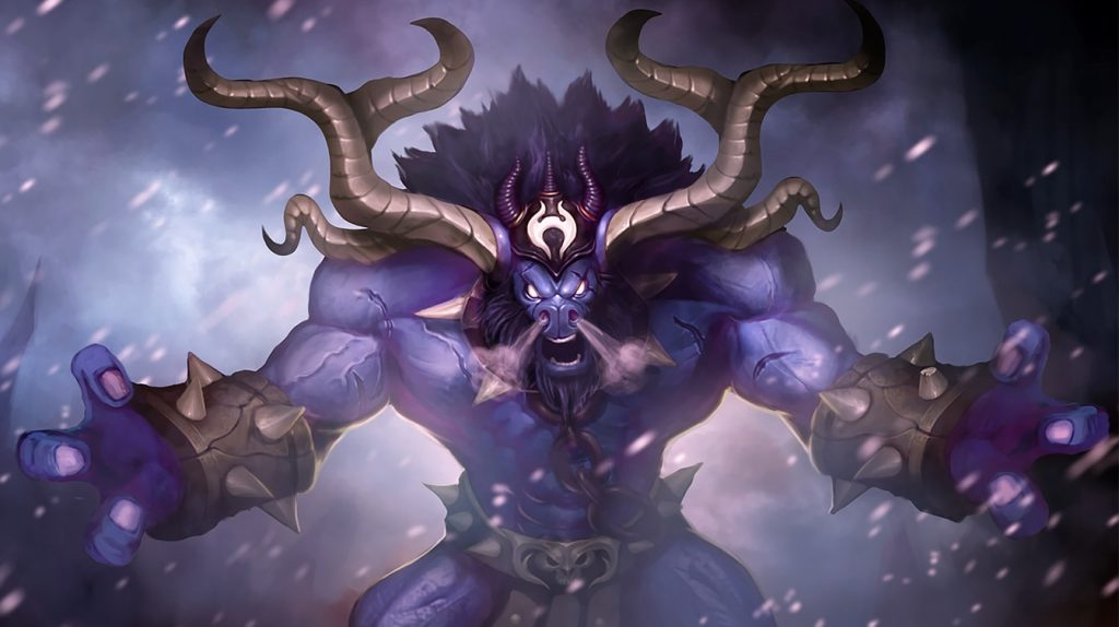 A quick peek at the Unchained Alistar skin you can get by following Riot's YouTube channel.